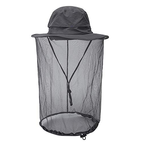 Mosquito Net Sun Hat for Women Men, Wide Brim Safari UV Sun Protection Fishing Netting Bonnie Hat with Hidden Net Mesh(Grey)