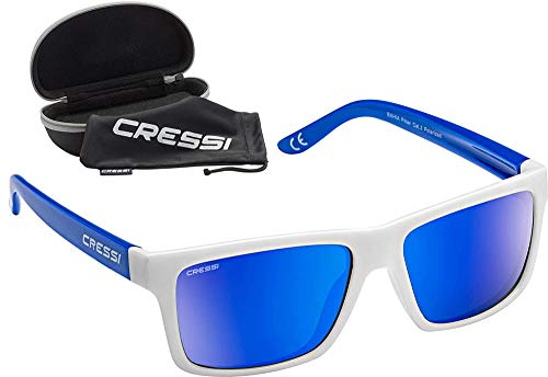 Cressi Bahia Flotantes Sunglasses Gafas De Sol Deportivo, Unisex adulto, Blanco/Royal/Azul Lentes espejados