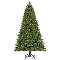 Home Heritage 9 Ft Artificial Cascade Pine Christmas Tree Prelit Changing Lights
