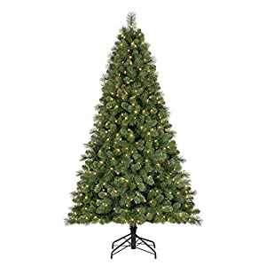 Home Heritage 7 Foot Artificial Cascade Pine Christmas Tree with Adjustable White and Multi-Color Changing Lights