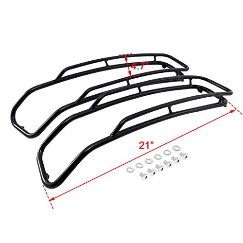XFMT Iron Black Saddlebags Lid Top Rail Guards Fits For Harley Road King Road Glide 14-19
