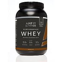 Marca Amazon - Amfit Nutrition Performance Proteína Whey de suero de leche (100% aislados de suero de leche), sabor chocolate, 33 porciones 990 g