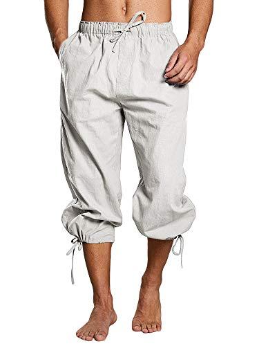 FUERI Pantalones cortos para hombre, con cordones, pantalones de verano, vikingos, piratas, medievales, vintage, disfraz informal, tiempo libre, playa, pantalones cortos para hombre, B-blanco., XXL