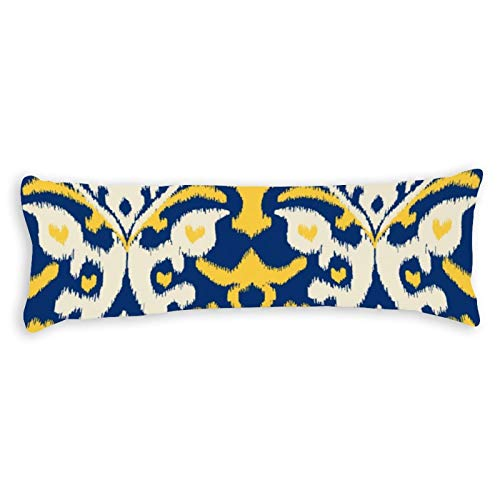 Modern Buff Yellow Blue Ikat Tribal Pattern Ultra Soft Microfiber Long Body Pillow Cover Pillowcases with Hidden Zipper Closure for Kids Adults Pregnant Women, 20' x 54'