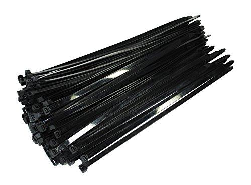 100 Stück Profi Kabelbinder Industriequalität schwarz 200 mm x 7,6 mm XXL stark und breit 54,4 kg Zugkraft Nylon cable ties für Industrie PC Fahrrad von Damstone