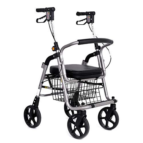 Transportwagen Einkaufstrolleys Einkaufswagen Trolley Seniorenroller Scooter Einkaufswagen Einkaufswagen Rollstuhl Platz für 4-Rad Klapprad Beladung 100 kg (Color : Silver, Size : 50 * 72 * 87-98cm)