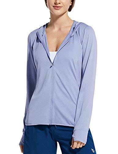 BALEAF Women's Zip Up Sun Shirts SPF UPF 50+ Hoodie Jackets Hiking Thumb Holes Lightweight Quick Dry Outdoor Blue L