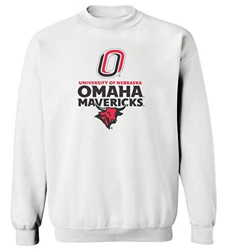 CornBorn Nebraska Omaha Mavericks Crewneck Sweatshirt - Omaha Mavericks with Bull and Primary Logo - White - Medium