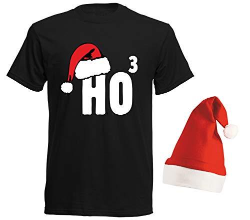 aprom T-Shirt Ho³ Nikolaus - T-Shirt mit Roter Mütze Weihnachten Gruppenkostüm SC, Schwarz, XL