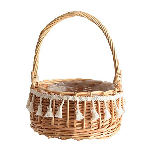 GJDBBLY Vimini Tassel Flower Basket Natuuralgen stof wasmand huisdecoratie bureau