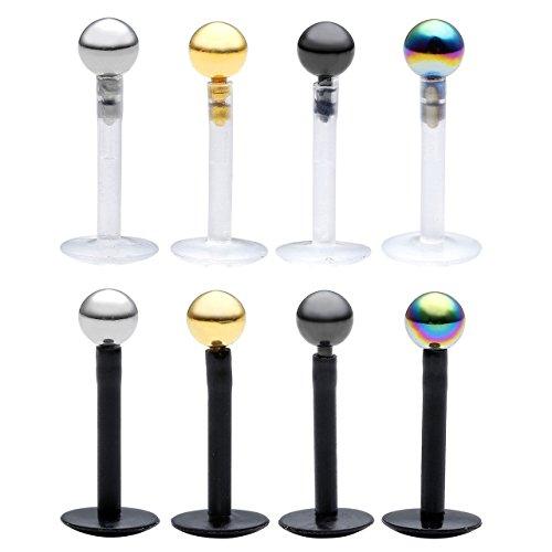 PiercingJ Lippenpiercing Set 8X Acryl Bioflex Labret Madonna Lippe Piercing mit 3mm Edelstahl Kugel Unisex Punk, weiß + schwarz (Stabslänge: ca.8mm)