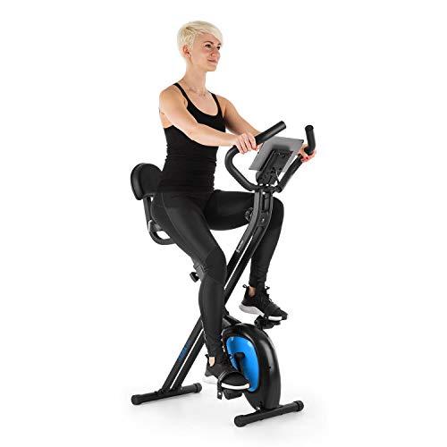 CapitalSports Azura Air - Bicicleta estática de Cardio, Plegable, Computador de Entrenamiento, Pulsómetro, Sillín ergonómico, 7 Niveles Altura, Pedales Antideslizantes, Pantalla LCD, Azúl