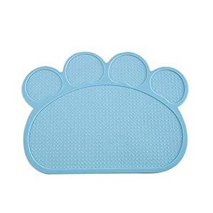 Hosaire 1x Pet Food Mat Tazón Impermeable no tóxico Tapetes para Comer para Perros o Gatos Antideslizante Gatito de Mantel Alfombra Práctico Protector de Suelo Size 40 * 30 * 0.3CM (Gris Claro) 4