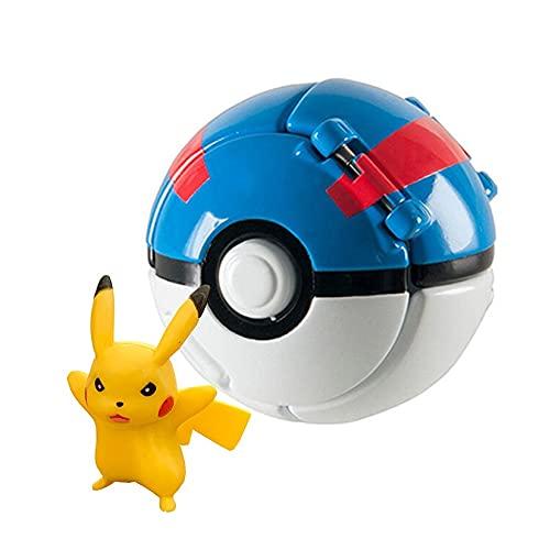 Poké Ball,Pokeball mit Figur,Poke bälle zum werfen, Poké Ball Pokeball, Mini Figurines,Lancer et Pop Balles Pokeball pour garçons Filles ou Cadeaux d'anniversaire pour Enfants (Pikachu Debout)