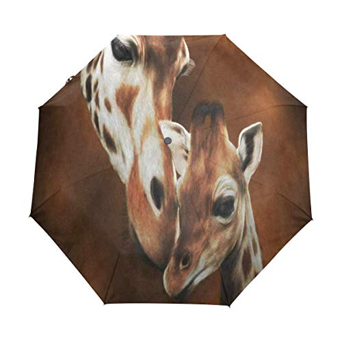 OuLian Compact Travel Umbrella Giraffe Adult and Baby Painting Auto Umbrellas Windproof for Women Men Kids Portable Rain Sun UV UPF Folding Reverse Umbrella with Automatic Open Close Button