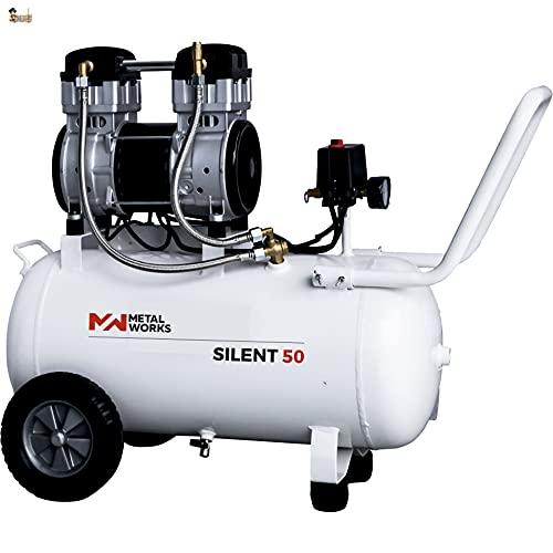 BricoLoco Compresor aire silencioso portátil, pequeño y ligero. 9 bares de presión. 2 CV de potencia. Depósito 50 lts. ¡¡¡ SÓLO 72 DECIBELIOS !!! ¡¡¡ DOBLE CABEZAL !!!