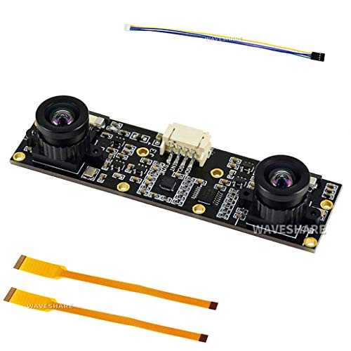 Waveshare Binocular Camera Module Dual IMX219 8 Megapixels Stereo Vision Depth Vision Supports Jetson Nano Developer Kit B01and Raspberry Pi CM3/CM3+ Expansion Boards for AI Vision Applications