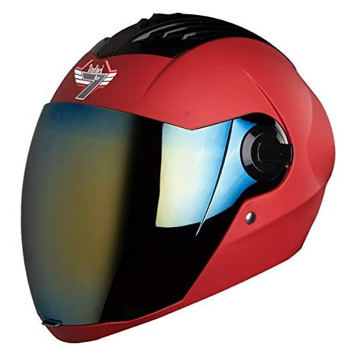 Steelbird SBA-2 7WINGS Full Face Helmet In Matt Finish with Tinted Visor (Large 600 MM, Matt Sport Red/Gold Visor)
