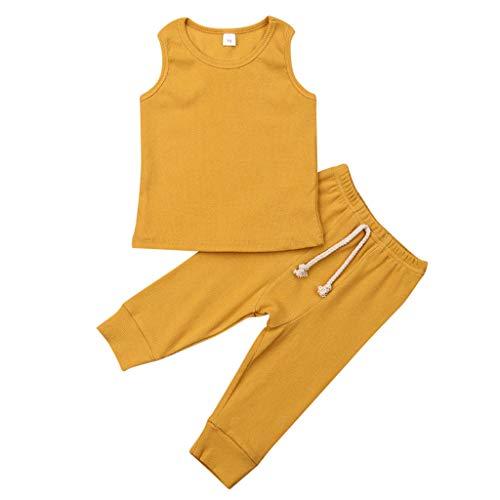 Livoral Neugeborene Baby Mädchen Bbys Weste Top Hosen Leggings Outfit Set Sommerkleidung(Gelb,0-6 Monate)