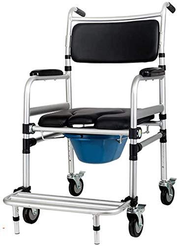 FREIHE Lichtgewicht mobiel toilet rolstoel, in hoogte verstelbaar, opklapbare aluminium douche rolstoel, afneembare wielers/pedaal, met rugleuning en armleuningen