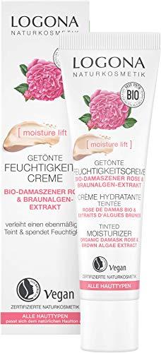 LOGONA Naturkosmetik Getönte Feuchtigkeitscreme Bio-Damaszener Rose & Kalpariane, Vegan, Hautton anpassende Gesichts-Creme, 30ml