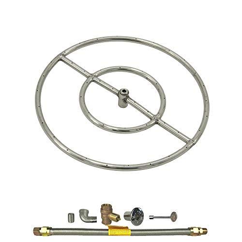 1 Set of Round Fire Pit Burner Kit, 18', Match Light, Natural Gas