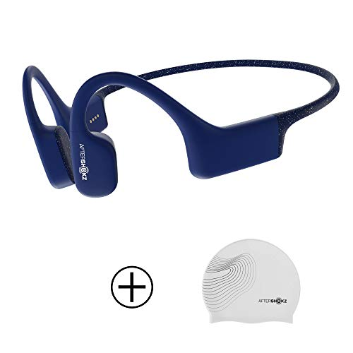 AfterShokz Xtrainerz Open-Ear MP3 Bone Conduction Wireless Sport Headphones, Waterproof for Lap Swimming and Watersports, Sapphire Blue with Swim Cap