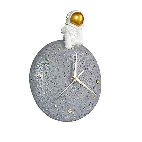 SETSCZY Reloj de Pared de Astronauta Moderna Reloj de Moda Retro Colgante de Pared Oficina Porche Dormitorio Estudio Decoración de Sala