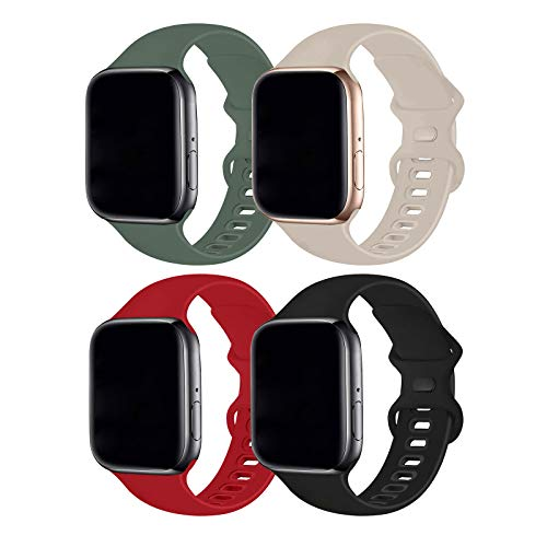 Hotflow 4 Pack Compatible with Watch Band 38mm 40mm,Sport Silicone Soft Replacement Band Compatible for Watch Series SE/6/5/4/3/2/1 [S/M Size - Black/Red/Pine Green/Stone]