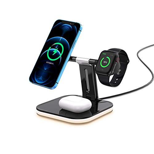 Cargador inalámbrico magnético 3 en 1, adecuado para auriculares iPhone 12 Pro Max y asiento de carga inalámbrica rápida para reloj, soporte para teléfono de escritorio, compatible con QI