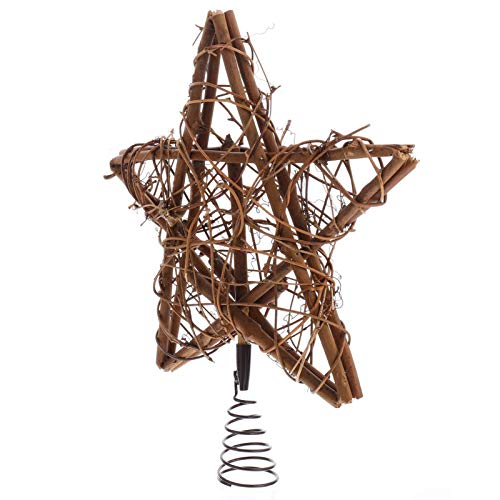 Kisangel Rattan Star Tree Topper DIY Tree Topper for Holiday Festival Decoration