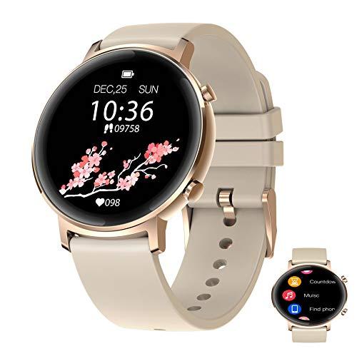 APCHY Reloj Inteligente Smartwatch,Rastreadores De Actividad De Pantalla De Alta Definición De Círculo Completo De 1.3 Pulgadas,Batería Grande De 180 Mah,Salud Femenina,Recordatorio De Calculadora,A