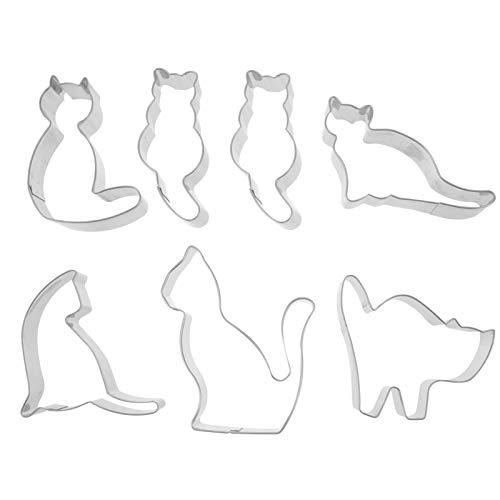 Hemoton 7Pcs Cortadores de Galletas Formas de Gato Comida Decorativa para Niños Herramientas para Hornear Estilo Aleatorio