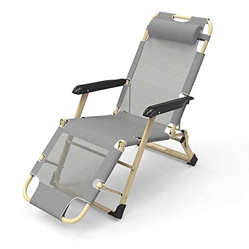 HJQFDC Sun Chair Liege, Folding Recliner, Textoline Strandstuhl, Patio Garden Poolside Liegestuhl Einzellieger, Sun Lounger Bett für Garten und Outdoor Camping-Grey MEI