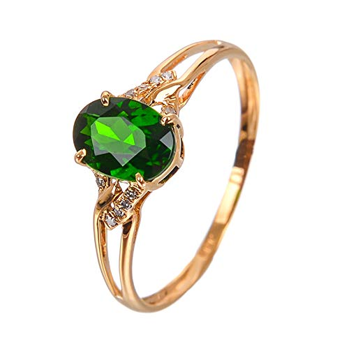 AueDsa Ring Gold Green Engagement Rings for Women 18K Gold Oval Ring Size U 1/2