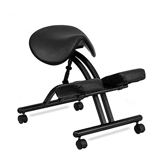 XBSXP Kneeling Chair Saddle Seat Mobile Ergonomic Chair for Home Office Relieving Back and Neck Pain Posture Corrective Seat,Black