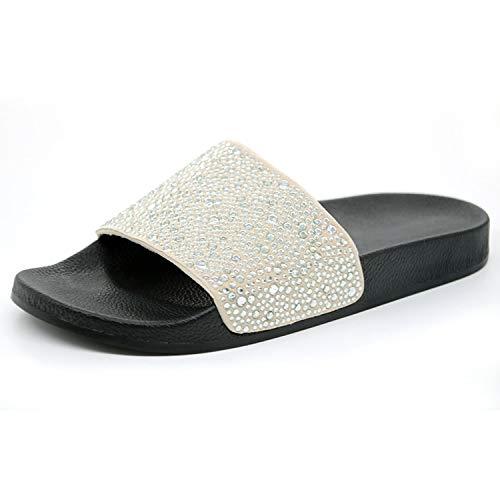 Geminilee Women Slippers Rhinestone Slides Flat Soft Home Flip Flops Female Crystal Shoes Beach Sandals,Silver,8
