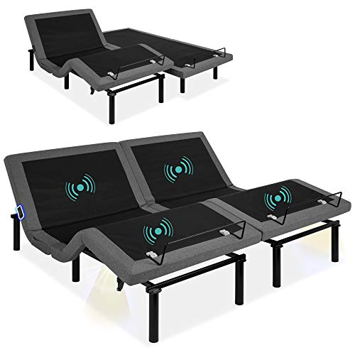Best Choice Products Ergonomic Split King Size Adjustable Bed, Zero Gravity Base for Stress Management w/Head and Foot Incline, Wireless Remote Control, Massage, Under-Bed Nightlight, and USB Ports