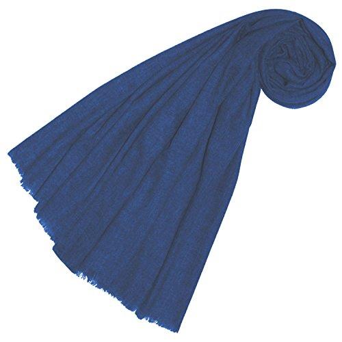Lorenzo Cana Yakwolle Damenschal aus Nepal Schaltuch 100% Yak Wolle Yakwolleschal Uni Einfarbig Naturfaser Mittelblau 78562