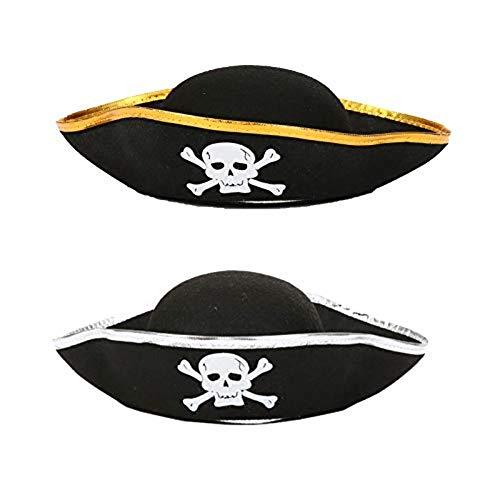 Accesorios de Disfraces de Piratas para Adultos y niños Carnaval, Cosplay y Halloween - un tamaño (2X Sombrero Pirata)
