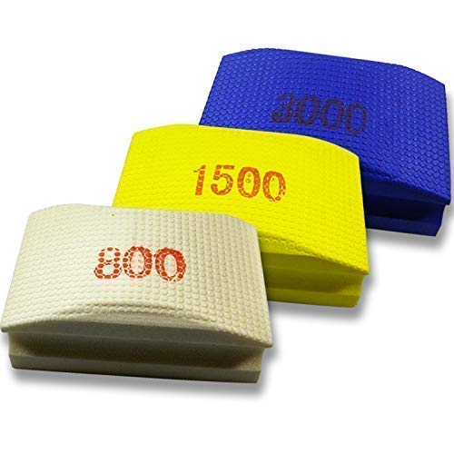 Originele EDW Finish SET | Handschuurpad/schuurspons set | Korrelgroottes 800, 1500 & 3000 | slijpen, polijsten, ontbramen | schuurblokken voor tegels, fijnsteengoed, natuursteen, graniet, glas