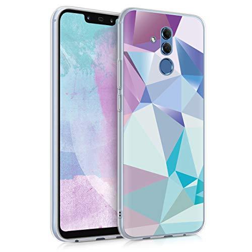 kwmobile Carcasa Compatible con Huawei Mate 20 Lite - Funda de TPU y triángulos asímetricos en Azul Claro/Rosa Claro/Azul