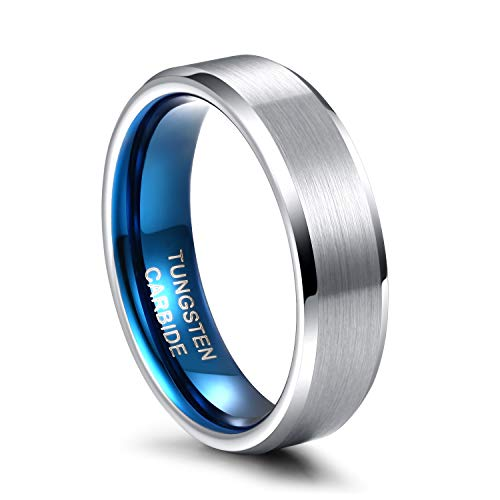Greenpod 6mm Wedding Band for Men Women Silver Blue Brushed Tungsten Carbide Wedding Rings for Couples Size 10.5