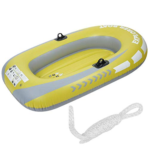 Great Price! Qiilu Inflatable Boat, Yellow PVC Inflatable Two Person Rowing Air Boat Fishing Drifting Diving Tool Fit for Surfing Traveling