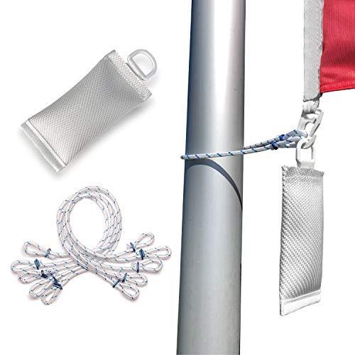 FLAGLY Fahnen und Flaggen Befestigung Set - 5X klapperfreie Fahnenschlingen und 1x Fahnengewicht (wahlweise 400g / 700g), Premium Fahnenmast Zubehör (700 g / 5X Schlingen)