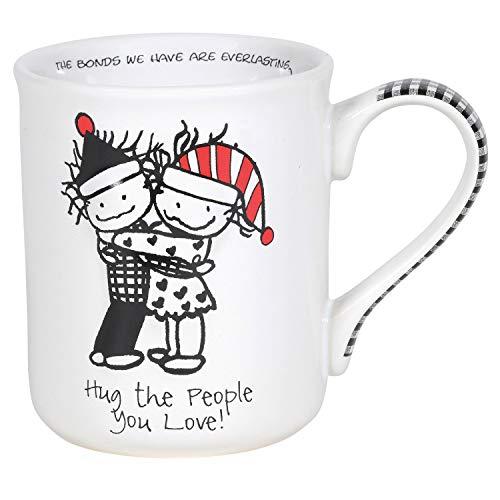 ENESCO Children of Inner Light Holiday Hug The People You Love Coffee - Taza de café, gres, Multicolor