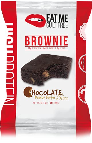 Eat Me Guilt Free Protein Brownie, Low Carb Healthy Snack or Dessert, 22g Protein, Chocolate Peanut Butter Bliss (12 Count) by Eat Me Guilt Free
