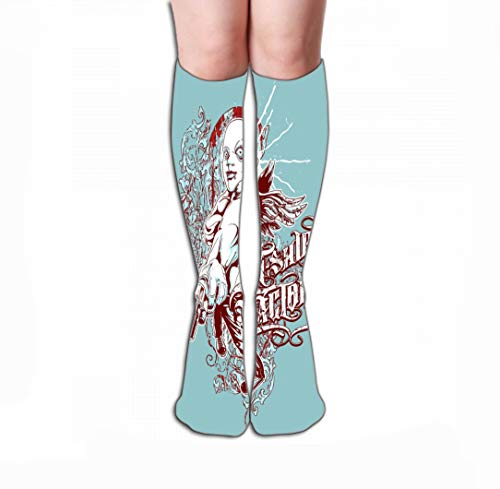 GHEDPO Hohe Socken Novelty Cotton Knee High Fun Socks for Women 19.7
