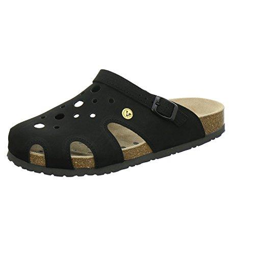 AFS-Schuhe 31993 ESD-Clogs| bequeme Hausschuhe für Damen und Herren| praktische Arbeitsschuhe| hochwertiges, echtes Leder| modische, verstellbare Pantoletten | rutschhemmende Laufsohle | Schwarz Größe 39 EU