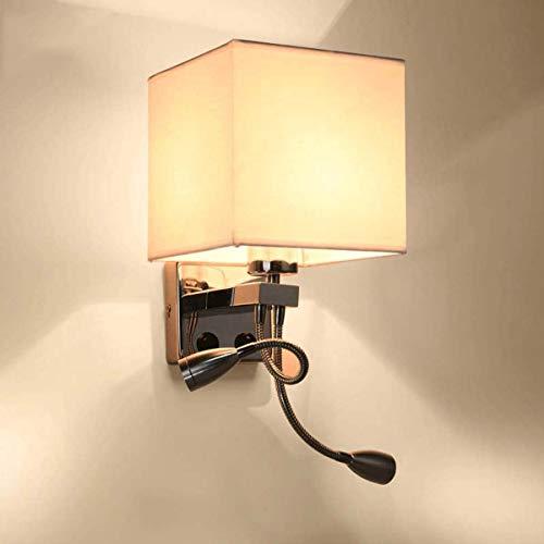 LBMTFFFFFF Soporte para Lámpara de Pared, Luces de Pared, Soporte de Luz de Pared con Luz de Lectura Led Flexible, Pantalla de Tela Blanca, 2 Interruptores de Palanca, Ideal para Sala de Estar, Dormi